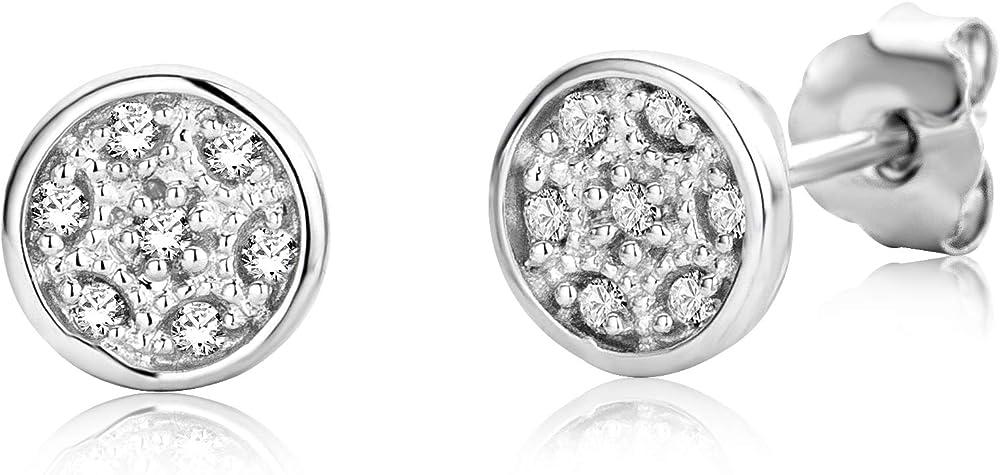 Miore  orecchini per donna in oro bianco 9 carati 375 (1,1 gr ) con diamanti 0,06 kt MF9081E