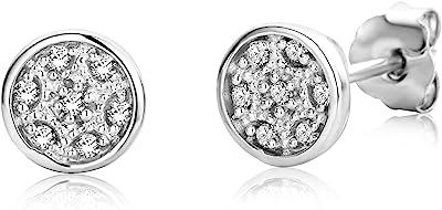 Miore Boucles d'oreilles Femmes Clous d'oreilles avec Diamants en Or Blanc 9 Karat / 375 Or Diamants Brillants 0.06 Carat, Bijoux