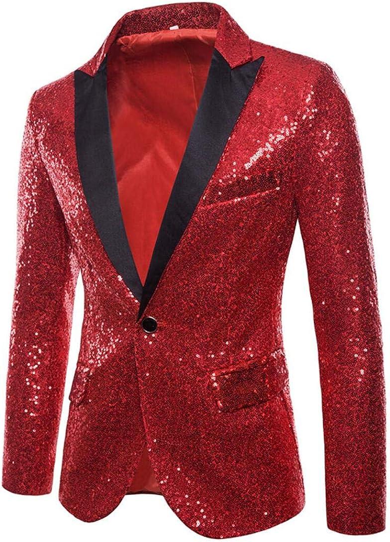 Sequined Men's Bazler Slim Fit One Button Suit Jacket Prom Party Coat