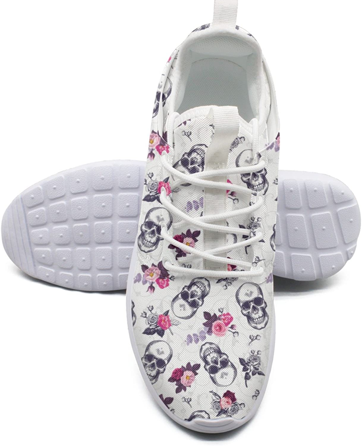 Skull with Bueaty pinks Women's Lightweight Mesh Sneakers Navy Walking shoes