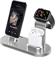 OLEBR Aluminum Charging Stand Compatible with iWatch 5 and 4 Watch Charging Stand for AirPods, iWatch Series 5/4/3/2/1,iPhone 11/ Xs/X Max/XR/X/8/8Plus/7/7 Plus /6S /6S Plus/iPad-Silver