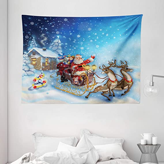 Amazon Com Ambesonne Christmas Tapestry Santa In Sleigh With Reindeer And Toys In Snowy North Pole Tale Fantasy Image Wall Hanging For Bedroom Living Room Dorm 60 X 40 Navy Blue Home