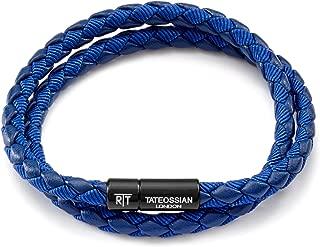 Tateossian Men's Chelsea Italian Leather Bracelet RT-Blue, Medium