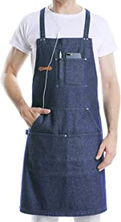 DingSay Trendy Professional Denim Apron for Chef BBQ Cooking Kitchen Grill, Men Women Bib Design with Tool Pockets,Quick Release Buckle and Towel Loop,Adjustable M to XXL (Blue Denim)