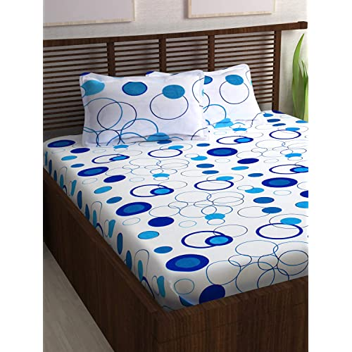 Story@Home Magic Cotton Double Bedsheet with 2 Pillow Covers - Blue Cotton bedsheets for Double Bed - 152TC