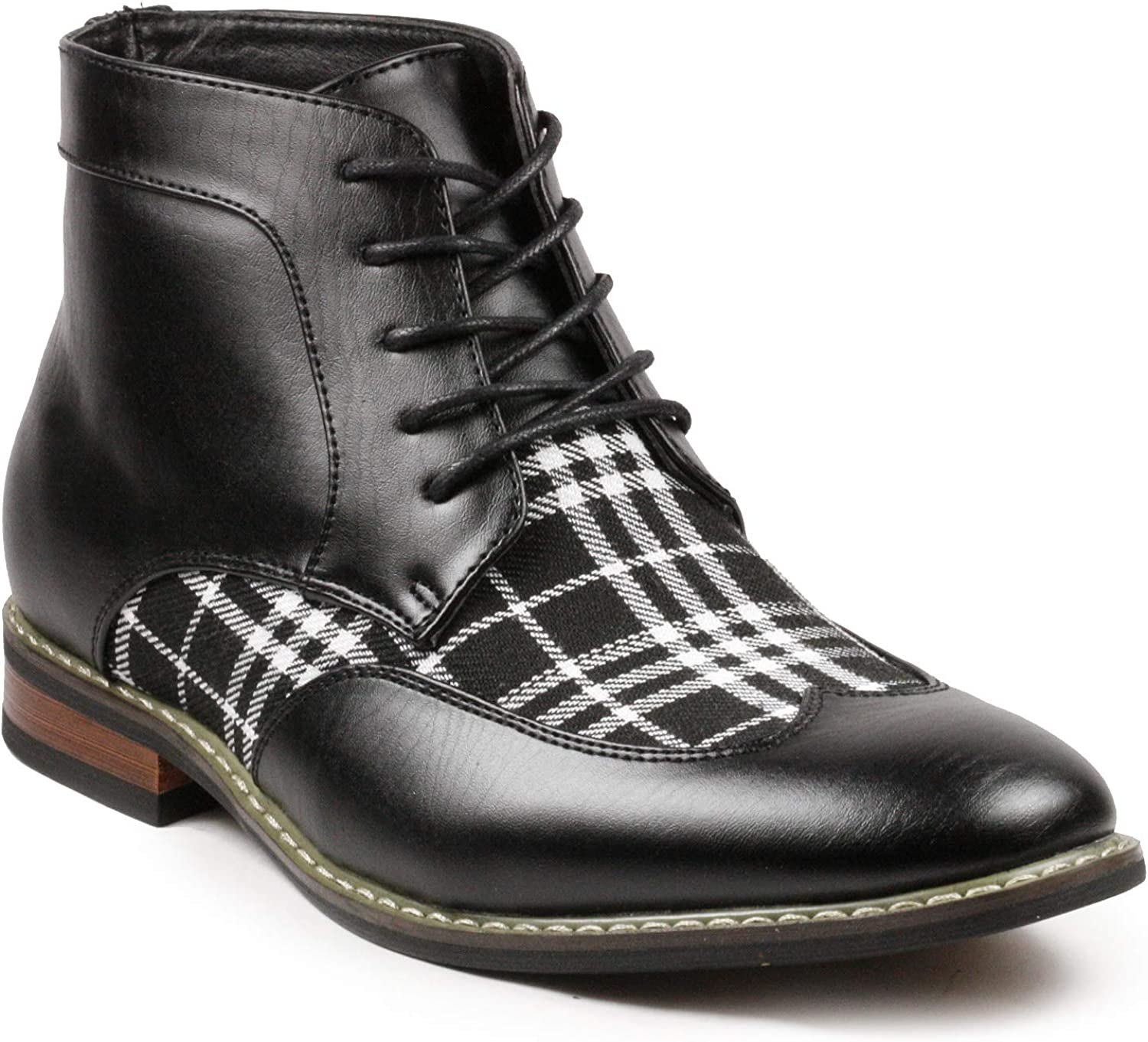 Metrocharm Alex-07 Men's Plaid Lace Up Wing Tip Classic Oxford Boot