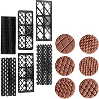 KALAIEN 6Pcs Cake Fondant Embossing Mould Cookie Cutter Set Impression Textures Mat Small