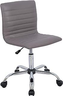 AmazonBasics Modern Adjustable Low Back Armless Ribbed Task Desk Chair, Grey, BIFMA Certified