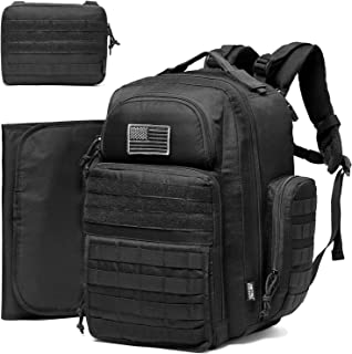Diaper Bag Backpack for Dad, DBTAC Large Baby Nappy Bag for Men w/Changing Mat, Insulated+Wipe Pockets, Stroller Straps, B...