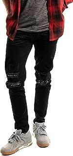 Mason & Co. Men's Ripped Skinny Jean Distressed Stretch Skinny Black Pants