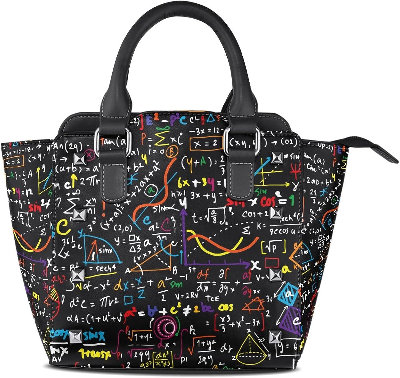 My Little Nest Women's Top Handle Satchel Handbag Doodle Math Geometrical Plots Ladies PU Leather Shoulder Bag Crossbody Bag