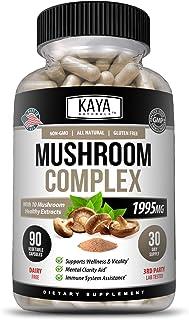 Kaya Naturals Premium Mushroom Complex Potent 1995mg Per Serving 90 Veggie Capsules Aids Mental Clarity Supports Immune Sy...
