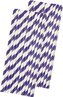 Stripe Paper Straws - Lilac Lavender White - 7.75 Inches - Pack of 50 - Outside the Box Papers Brand