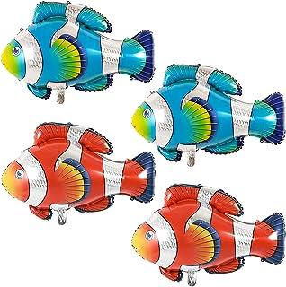 Clownfish Foil Balloons Sea Creatures Large Fish Ocean Animal Mylar Balloons Tropical Fish Mylar Balloons Cartoon Balloons...
