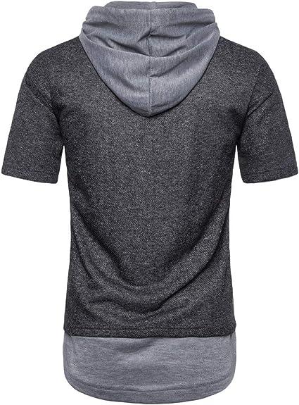Camiseta para Hombre,Verano Manga Corta Color s/ólido Sudadera con Capucha Moda Diario Slim Fit Casual Camiseta T-Shirt Polos Blusas Camisas Suave b/ásica Camiseta Tops vpass