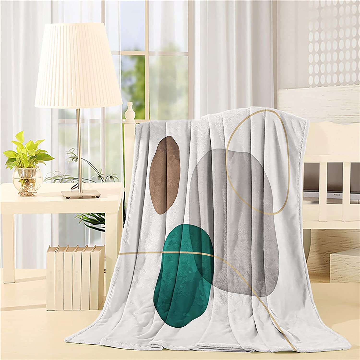 Fleece Blanket Plush New York Mall Throw Abstract Gree Mid Century Art OFFicial mail order