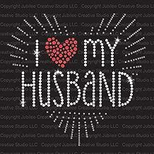 I Love My Husband Iron On Rhinestone Crystal T-shirt Transfer by JCS Rhinestones