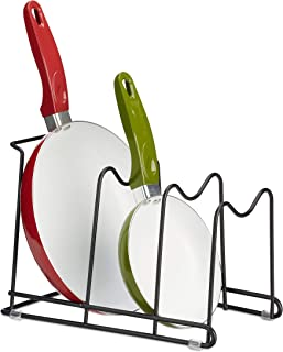 Relaxdays Organizador de Sartenes, Soporte Tapas Ollas 4 Niveles, Armario Cocina, 1 Ud, Hierro, 20,5 x 21 x 29 cm, Negro
