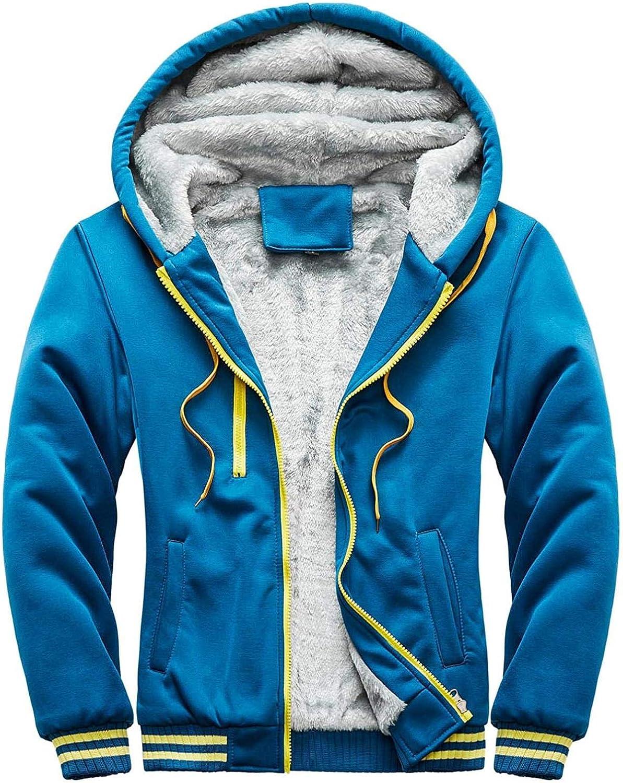 Men's Winter Workout Fleece Hoodie Pullover Jackets Casual Full Zip Wool Warm Thick Coats Overcoat Outerwear Cardigan