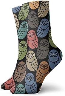 With Owls In Retro Colors Crew Socks   Cute Fun Socks for men