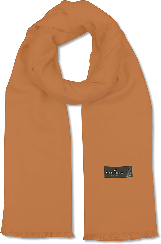 Bleu Nero Luxurious Winter Scarf Premium Cashmere Feel Solid Colors Men and Women