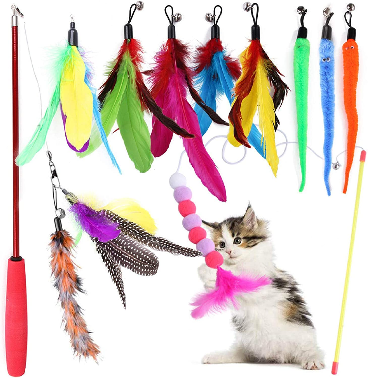 Egsyh Cat San Francisco Mall Toy Max 54% OFF Feather Set C Interactive 12Packs Retractable