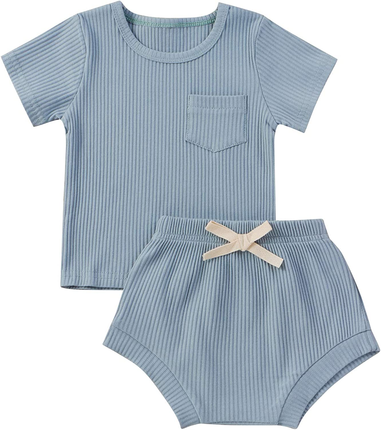 Toddler Baby Boy Girl Outfit Solid Pocket Ribbed Top T-Shirt and Shorts Summer Clothes Set