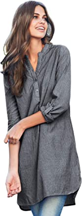 Ellos Women's Plus Size Striped Henley Tunic