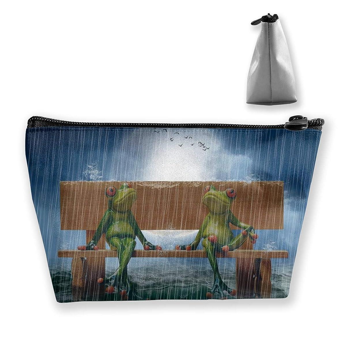 病的アカデミック祖母Szsgqkj 雨でベンチに水彩カエル 化粧品袋の携帯用旅行構造の袋の洗面用品の主催者