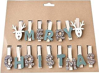 Générique LIGHTBLUE Clips en Bois Élément de Noël Photos Papiers Vêtements Pince de Fixation Décoration de la Maison,Marron