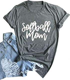 Softball Mom T-Shirt for Women Letter Printed Short Sleeve Tee Top Funny Blouse Tee