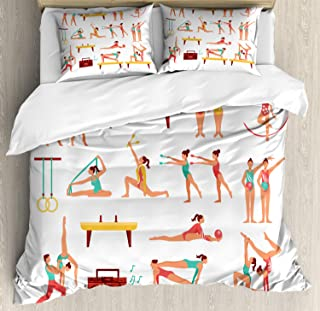 Ambesonne Gymnastics Duvet Cover Set, Pommel Horse Maces and Ribbons Athlete Performing Acrobatics Pattern, Decorative 3 Piece Bedding Set with 2 Pillow Shams, Queen Size, White Yellow
