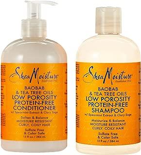 SheaMoisture Low Porosity Protein-Free Set w/Baobab & Tea Tree Oils – Includes 13 oz. Shampoo & 13 oz. Conditioner