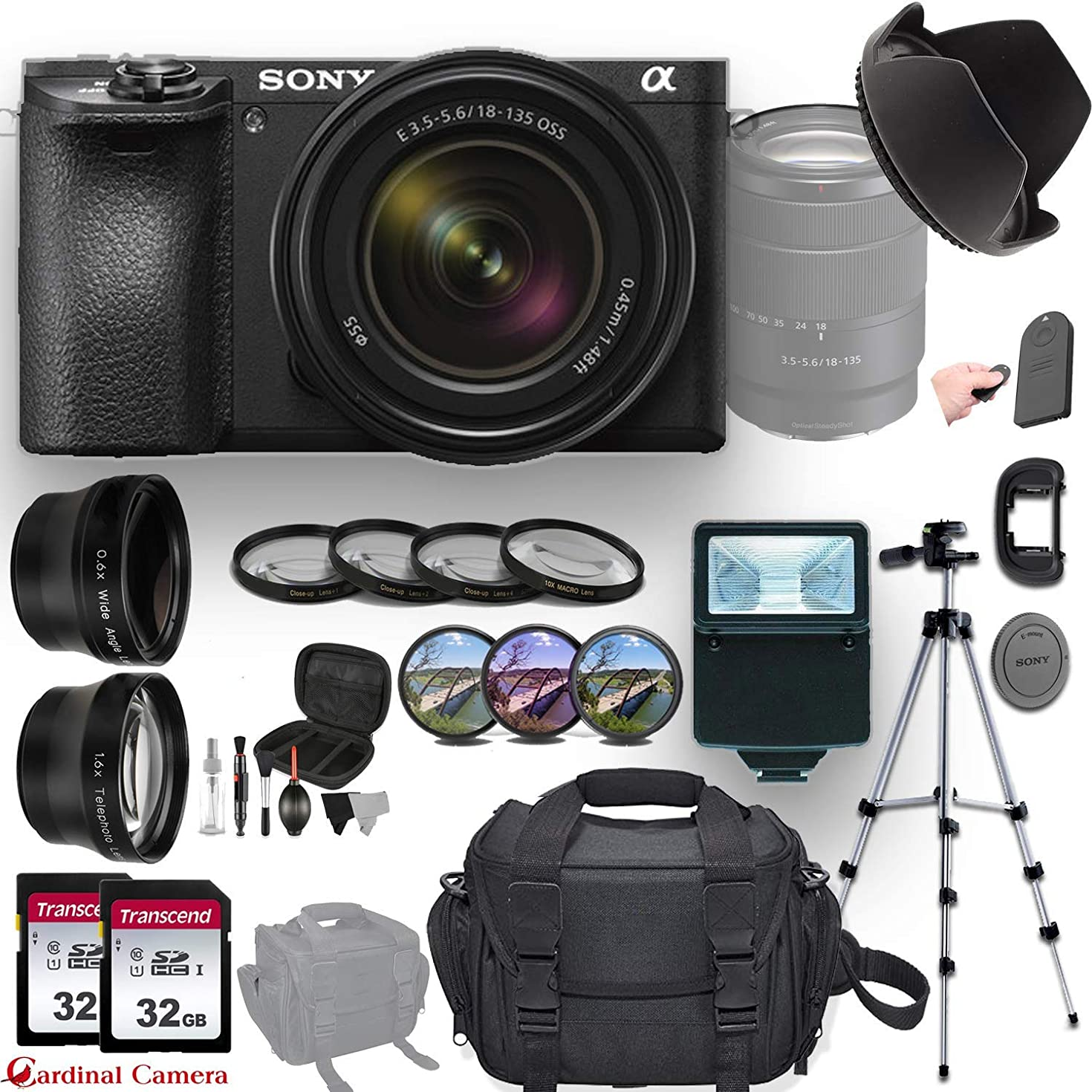 Sony a6500 with Sony E 18-135mm f/3.5-5.6 OSS Lens,Professional Accessory-Kit Bundle