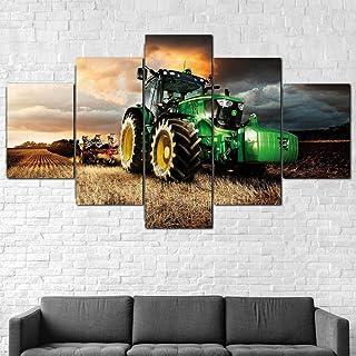 IIIUHU 5 Piezas Cuadro sobre Lienzo De Fotos Tractor cortacésped Agricultura Lienzo Impresión Cuadros Decoracion Salon Grandes Cuadros para Dormitorios Modernos Mural Pared Listo para Colgar