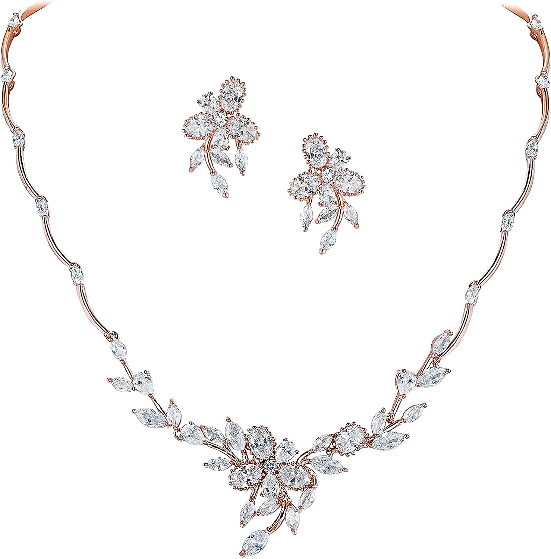 Crysdue Elegance Bridal Jewelry for Wedding, Cubic Zirconia Floral Wedding Jewelry Set, Sunflower Vine Leaf Jewelry for Women Bride Bridesmaid
