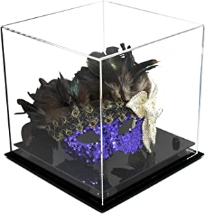 Better Display Cases Versatile Clear Acrylic Display Case - Medium Square Box with Black Risers 10