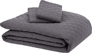 AmazonBasics Oversized Quilt Coverlet Bed Set - King, Dark Grey Diamond