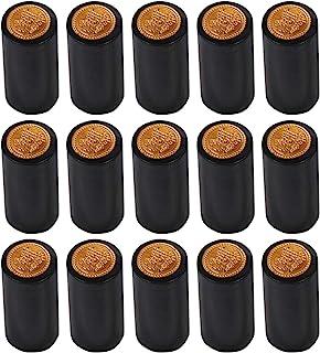 DOITOOL 100 capsule termorestringenti per bottiglie di vino tappi termorestringenti per bottiglie a bocca dritta rosso, bordo dorato