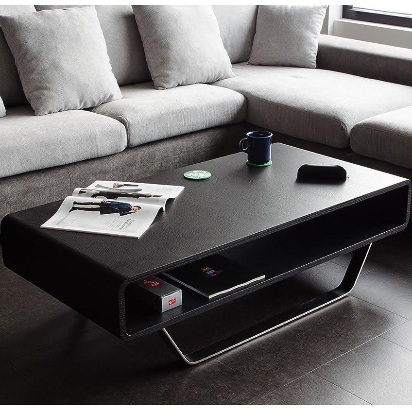 キャップ労働メロディーセンターテーブル モダン ブラック オーク 120 ローテーブル おしゃれ 高級 木製 黒
