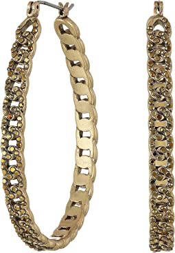 Pave Chain Hoop Earrings