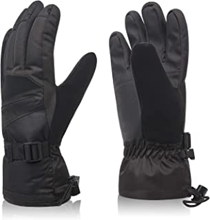 Ski Gloves, Winter Warm Cozy 3M Thinsulate Outdoor Windproof Snowboard Gloves for Women, Youth, Kid, Skiing, Snowboarding, Motorcycling, Shoveling, with Pocket & Wrist Leashes
