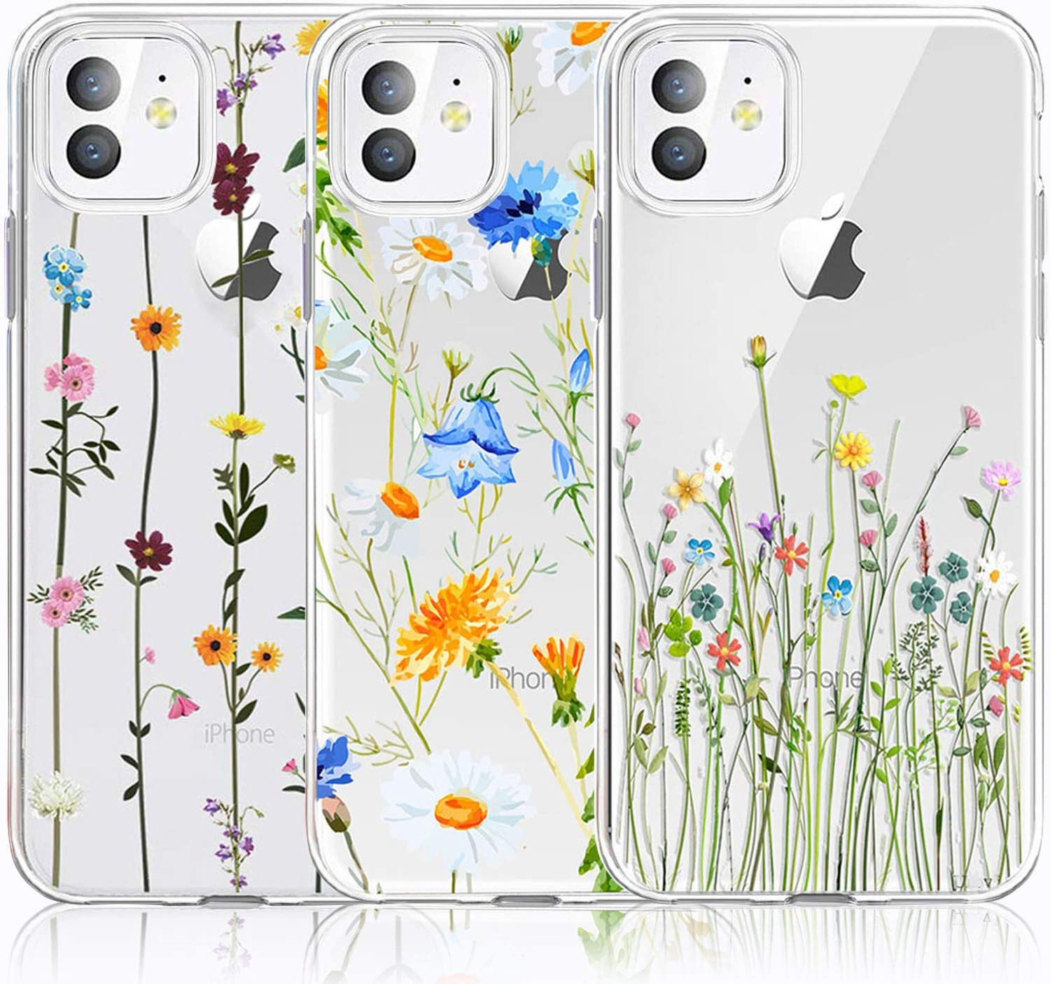 CarterLily iPhone 11 Case, iPhone 11 Case with Flowers, [3-Pack] Watercolor Flowers Floral Pattern Soft Clear Flexible TPU Back Case for Apple iPhone 11 6.1 inch (Cute Wildflower)