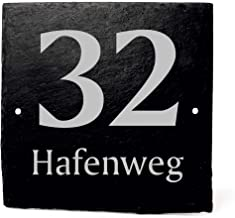 Leisteen bord huisnummer vierkant met gravure - uw huisnummer en straatnaam   leisteen bord deurbordje 11x11cm   Dekolando...