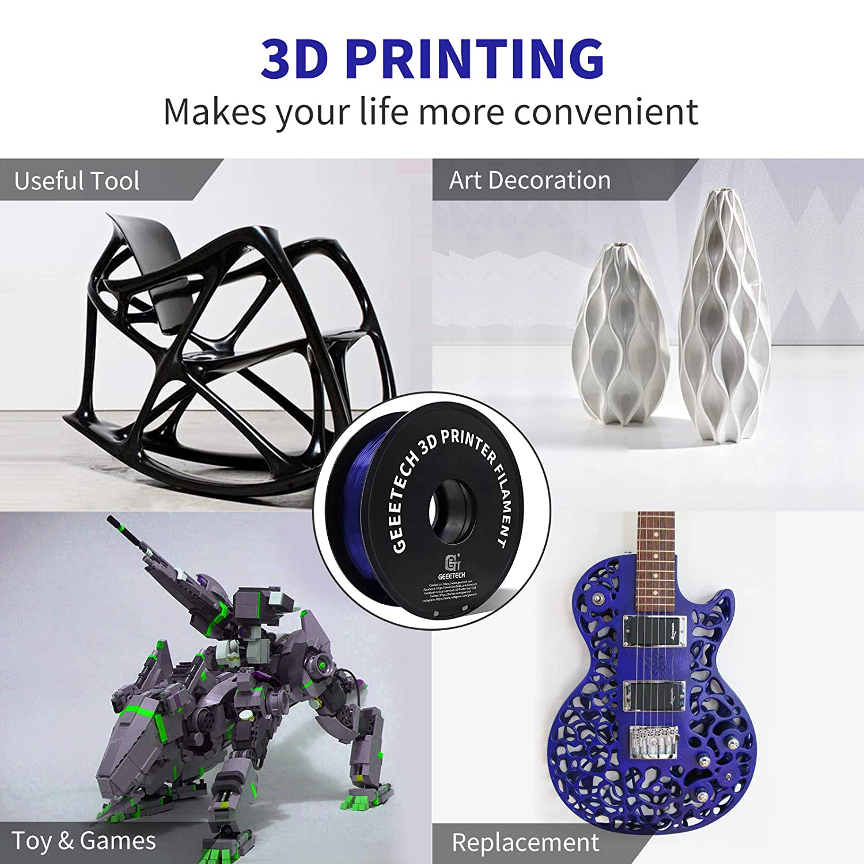 Upgrade Stronger Toughness Printing Consumables Diameter Tolerance +//- 0.03 mm Geeetech PETG Filament 1.75mm 1 KG Spool Fit Most FDM 3D Printer 2.2 LBS Blue