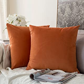 MIULEE Pack of 2 Velvet Soft Soild Decorative Square Throw Pillow Covers Set Cushion Case for Sofa Bedroom Car 16 x 16 Inch 40 x 40 cm Orange