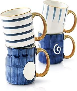 Sponsored Ad - Sophie & Panda Porcelain Mugs Pack of 4 - Creative Abstract Shape Art Design Mugs - Coffee Mugs Tea Mugs (M...