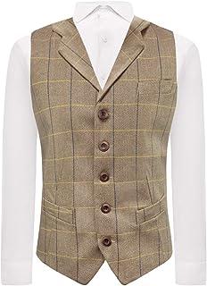King & Priory Light Oak Brown Herringbone Check Waistcoat with Lapel, Tweed