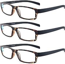 Sponsored Ad - 3 Pack Reading Glasses Blue Light Blocking for Women and Men, 3 Pairs Anti Eyestrain Computer Readers Torto...