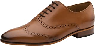DAPPER SHOES CO. Handcrafted Men's Classic Brogue Oxford Wing-Tip Lace Up Genuine Leather Lined Perforated Dress Shoes